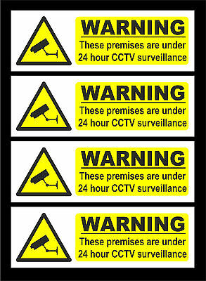 *Pack Of 4* White 24 Hr CCTV Surveillance In Operation Signs All Materials Sizes