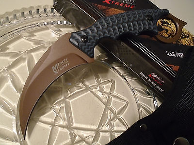 Mtech Xtreme Brown Titanium Military Karambit Dagger Claw Knife 5mm Full Tang
