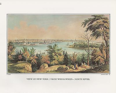 "1972 Vintage Currier /& Ives /""VIEW OF BOSTON HARBOR 1848/"" COLOR Print Lithograph"