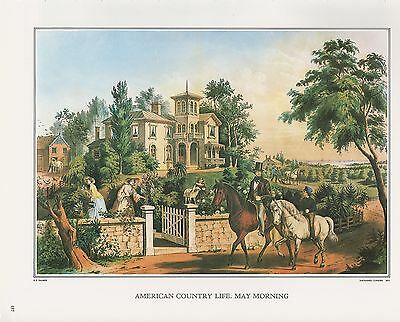 """1972 Vintage Currier /& Ives AMERICAN COUNTRY /""""WINTER EVENING/"""" COLOR Lithograph"""