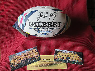 Australian Wallabies *24* Hand Signed World Cup Rugby 2015 Wrc Football - Proof