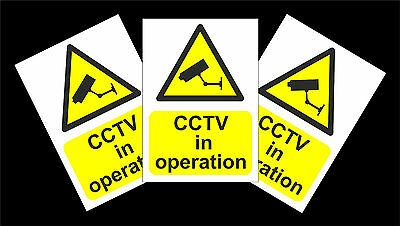 **BARGAIN PACK OF 3** CCTV In Operation Stickers - 150x200mm Security Signs