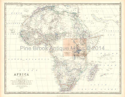 Africa Antique Map Johnston 1861 Original