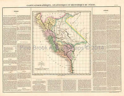 Peru Antique Map Buchon 1825 Original
