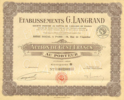G. Langrand Company > Paris France bond certificate