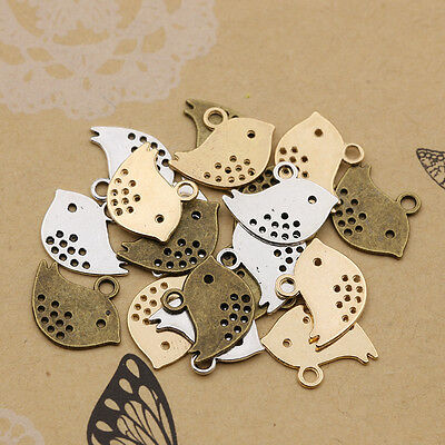 40/100Pcs Retro Style Tibet Silver Lovely Bird Charms Pendant Jewelry Findings