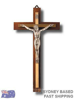 WALL CRUCIFIX 27cm Religious Cross Metal on Wood BNWT