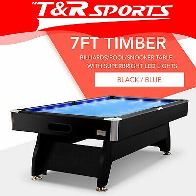 7FT Blue Timber MDF Luxury Pool Billiard Snooker Table LED Free Metro Delivery*