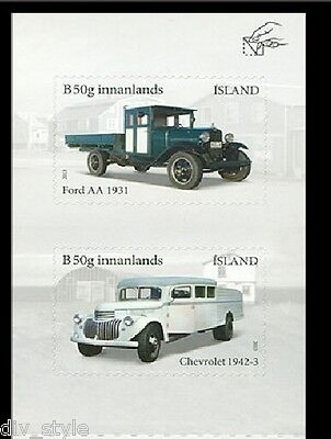 Antique Ford & Chevy Trucks set of 2 self-adhesive stamps 2013 Iceland #1300-1