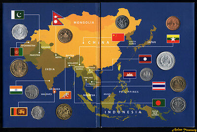 12 Coins From 12 Asian Nations Asia In Souvenir Booklet Packet Unc New Sealed