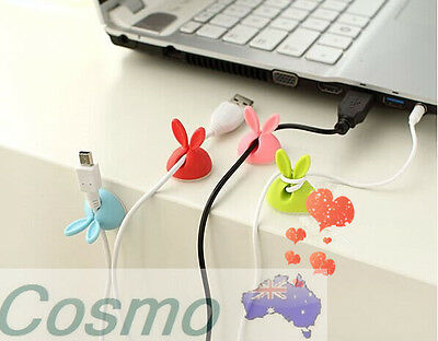4 Pcs Rabbit Wire Cord Cute Cable Drop Colourful Organizer Ties Management New