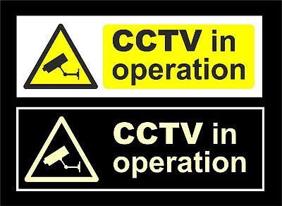 CCTV In Operation Signs White / Photoluminescent All Materials & Sizes Security