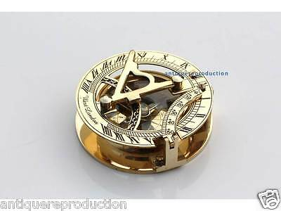 Solid Brass Sundial Compass Nautical Decor Maritime Gift