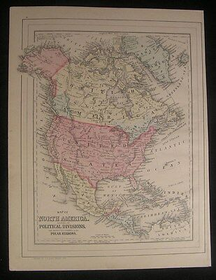 North America 1884 old Mitchell antique hand color map