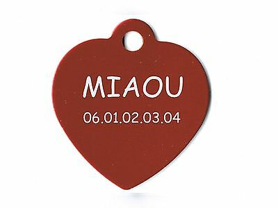 medaille gravee chien ou chat - modele grand coeur - rouge