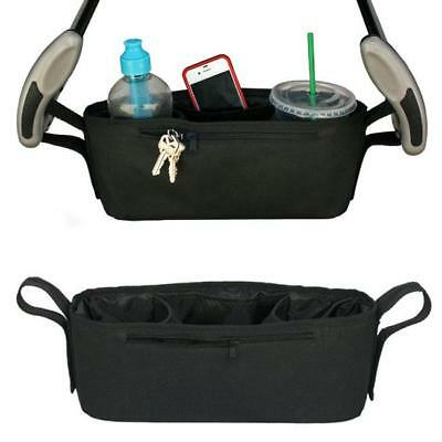 Universal Baby Strollers Cup Holder Safe Console Tray Pram Hanging Black Bag Q