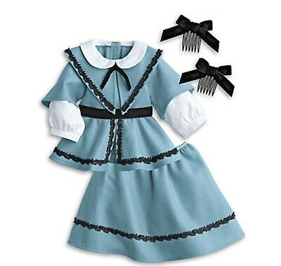 -American Girl Addy's School Outfit NIB Addy Blue Jacket Skirt Bows BeForever