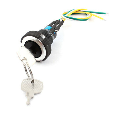 AC 220V/250V 5A 22mm Dia Thread SPDT Latching Rotary Selector Switch w Keys