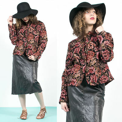 Womens Vintage Red Floral Pattern High Neck Tapestry Button Up Blazer Jacket 12