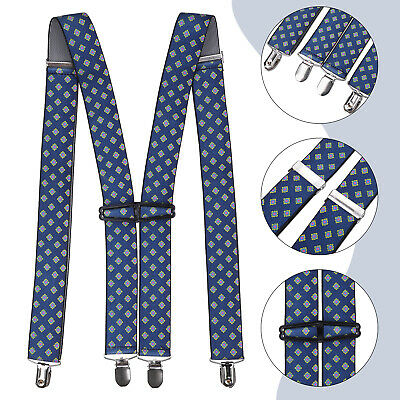 NAVY DOT DESIGN GENTS MENS 35mm WIDE ADJUSTABLE BRACES SUSPENDERS ELASTIC UK