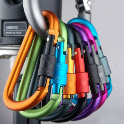 6 X D Ring Shape Carabiner Spring Snap Key Chain Clip Hook Lock Outdoor Buckle