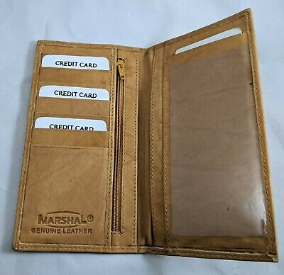 Men's Women's Brown Tan GENUINE LEATHER Checkbook Cover Holder Organizer WALLET