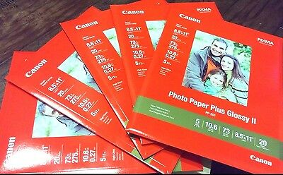"""Canon Photo Paper Plus Glossy II 8.5""""x11"""" - Lot of 5 - 100 Sheets - Brand New"""