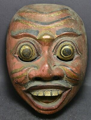Vintage Indian Hand Carved and Hand Painted Wooden Mask ~ 6'' x 7'' ~