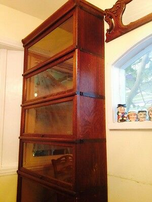 Antique Vintage Globe Wernicke 6 Tiered Barrister Book Case With Top And Bottom
