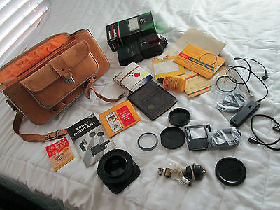 """Vintage Leather Film Camera """"Grab Bag"""" Mixed Lot From Estate Filters Flash"""