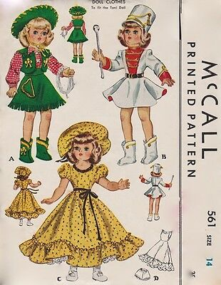 McCalls MCall 1561 Toni Doll Vintage Doll Pattern Cowgirl - Original Uncut