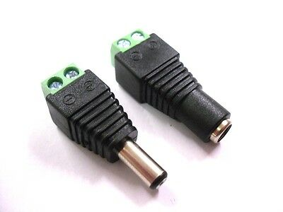 Female + Male  DC Power Plug Connector Jack Adapter with 2-Pin Terminal Block