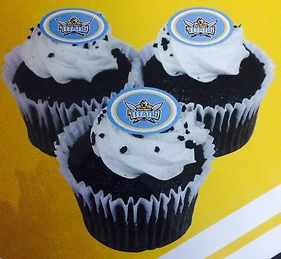 Gold Coast Titans NRL Cupcake Logo Edible Cup Cake Image Toppers