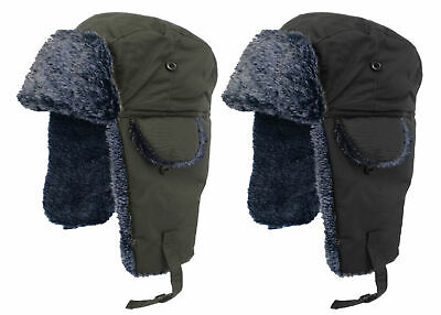 Unisex Adults Mens Womens Winter Warm Fur Lined Waterproof Russian Trapper Hat