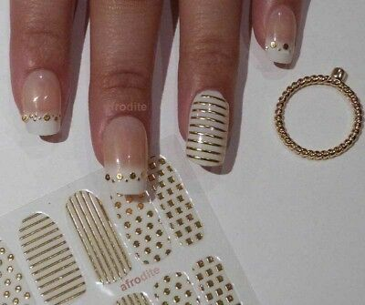 White on gold gem foil nail wrap, sticker decal, polish appliqué UK, top quality
