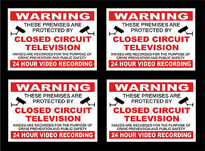 *PACK OF 4* CCTV In Operation 24 Hour Recording Signs - All Materials Sizes R/B