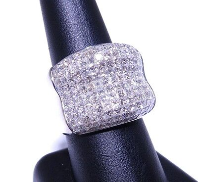 Mens 14k White Gold Princess Cut Invisible Setting 7.00ct High End Diamond Ring