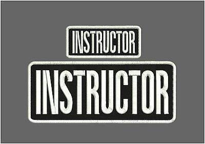 instructor embroidery patches 4x10 And 2x5 velcro white letters