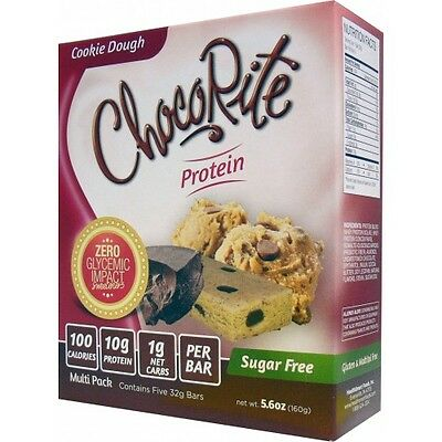 ChocoRite Sugar Free Protein Bars Cookie Dough - 5 Bars, Low Carb, High Fiber