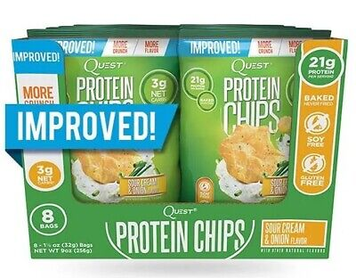 Pack of 8 Quest Nutrition Low Carb Protein Chips Sour Cream & Onion, Gluten Free