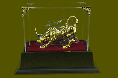 Angry Stock Market Bull Taurus Zodiac Bronze Statue Sculpture Figurine Decor Art