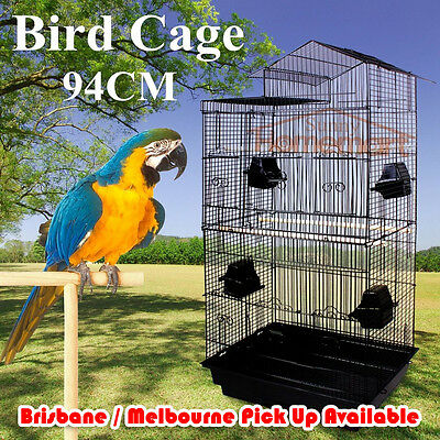 New Portable Black Elegant Traditional House Top Bird Cage Carry Cage 94CM