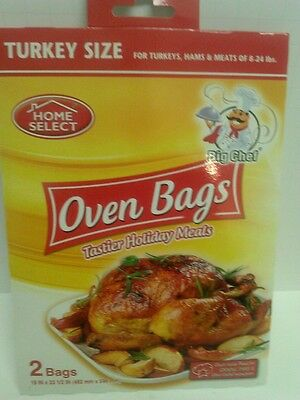 """2 TURKEY SIZE OVEN BAGS FOR HAMS & MEATS OF 8-24 lbs 19""""x 23 1/2"""" HOME SELECT"""