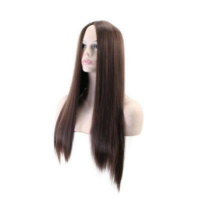 70CM Long Dark Brown Straight Heat Resistant Women Lady Hair Full Wig Kit