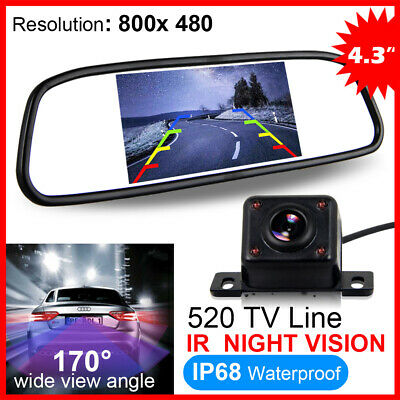 "CAR REAR VIEW KIT 4.3"" LCD MIRROR MONITOR + IR LED Night Vision REVERSING CAMERA"