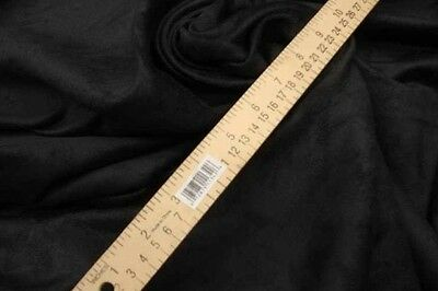 "Suede Micro faux 58"" wide Black Polyester Upholstery Drapery Fabric 50 yards"