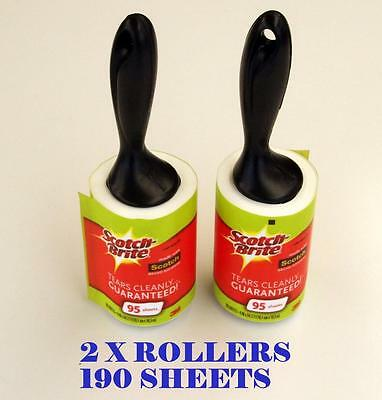 2 Pack  X 3M Scotch Brite Lint Rollers 190 Sheets New Fluff Pet Hair Dust Remove
