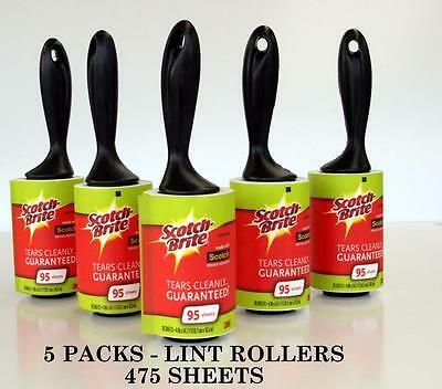 5 Scotch Brite 3M Lint Roller Pet Hair Dust Fluff Remover 475 Sticky Sheets