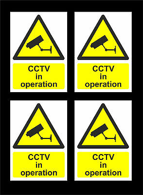 *PACK OF 4* CCTV In Operation Signs - All Materials Sizes Camera Security