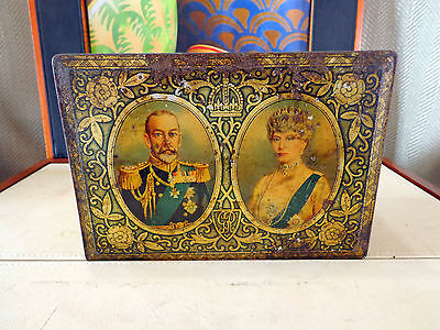 King George V Queen Mary Silver Jubilee 1935 Biscuit Tin Vintage British Royalty